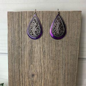 Purple silver detail tear drop earrings premier